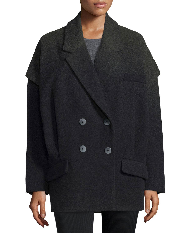 Vanessa Double-Breasted Oversize Coat, Winter Solstice