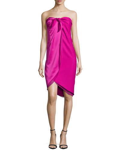 Strapless Knotted Wrap Dress, Bright Magenta