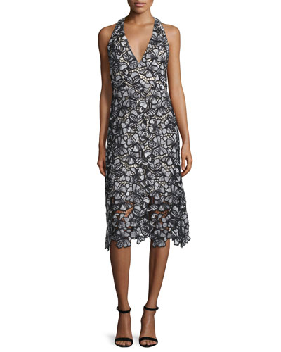 Noreen Floral Lace Midi Dress, Black/Gray