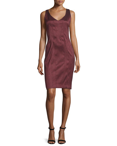 Pia Sleeveless V-Neck Sheath Dress, Garnet/Onyx/Multi