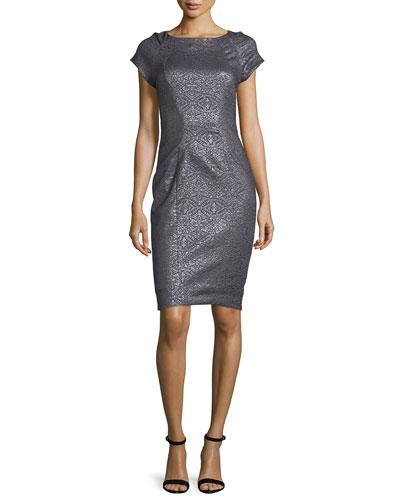 Carmen Metallic-Embossed Sheath Dress, Eclipse/Multi