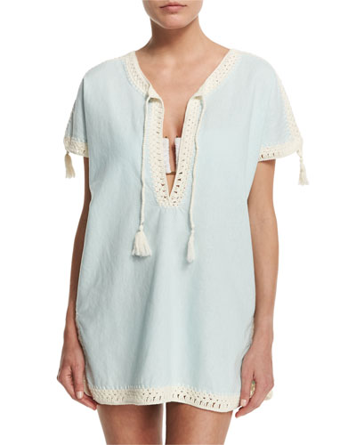 Nerano Crocheted Linen Tunic Coverup with Tassels