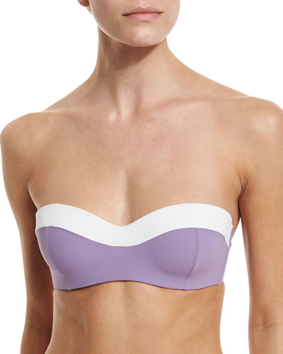 Laurito Colorblock Underwire Bandeau Swim Top, Provence/White