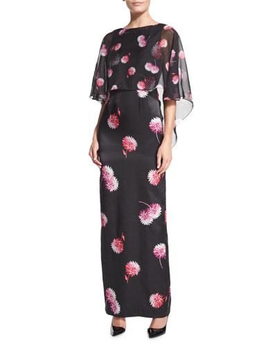 Gaby Floral-Print Column Gown