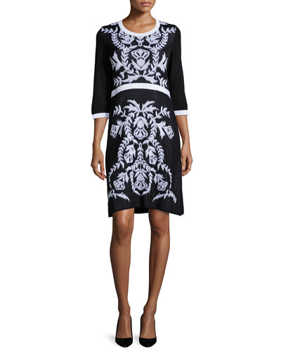 3/4-Sleeve Damask-Pattern Dress