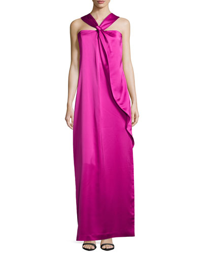 Knotted-Front Ruffle Gown, Bright Magenta