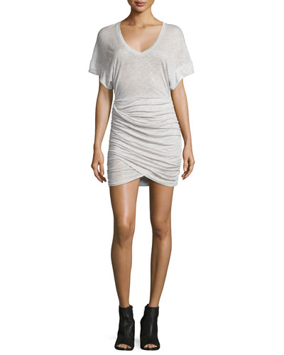 Ginger Ruched Jersey Dress, Off White/Beige