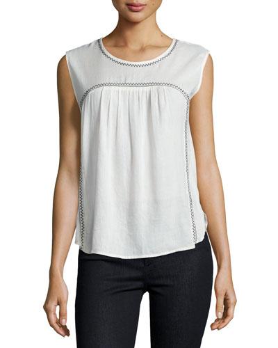 Asera Sleeveless Round-Neck Top, Off White