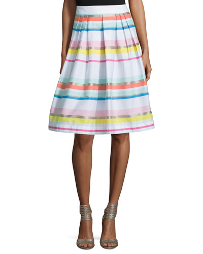 ribbon striped pleated skirt