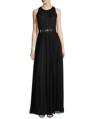 sleeveless embellished-waist maxi dress, black