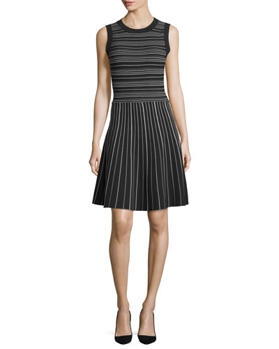 sleeveless striped fit-&-flare dress, black/cream
