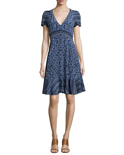 Short-Sleeve Paisley A-Line Dress, Blue Smoke