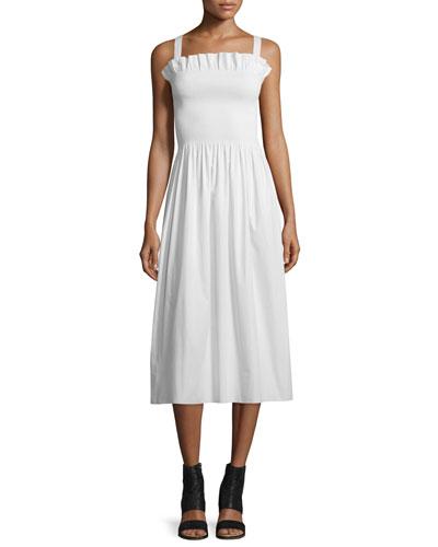 Gathered Poplin Midi Dress, Off White