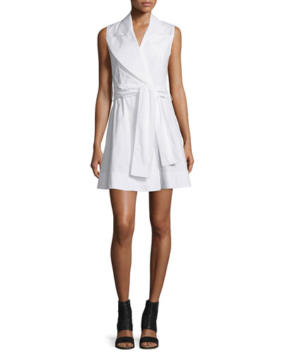 Sleeveless Cotton Poplin Wrap Dress, White