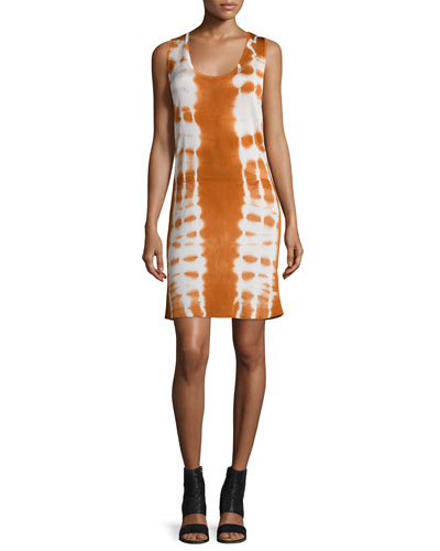 Sleeveless Batik Shift Dress, Off White/Sunset