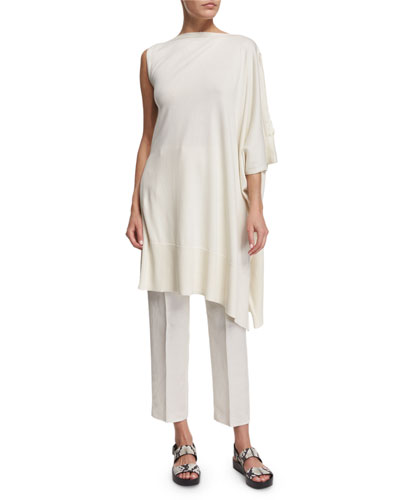 Asymmetric Poncho Sweater, Off White