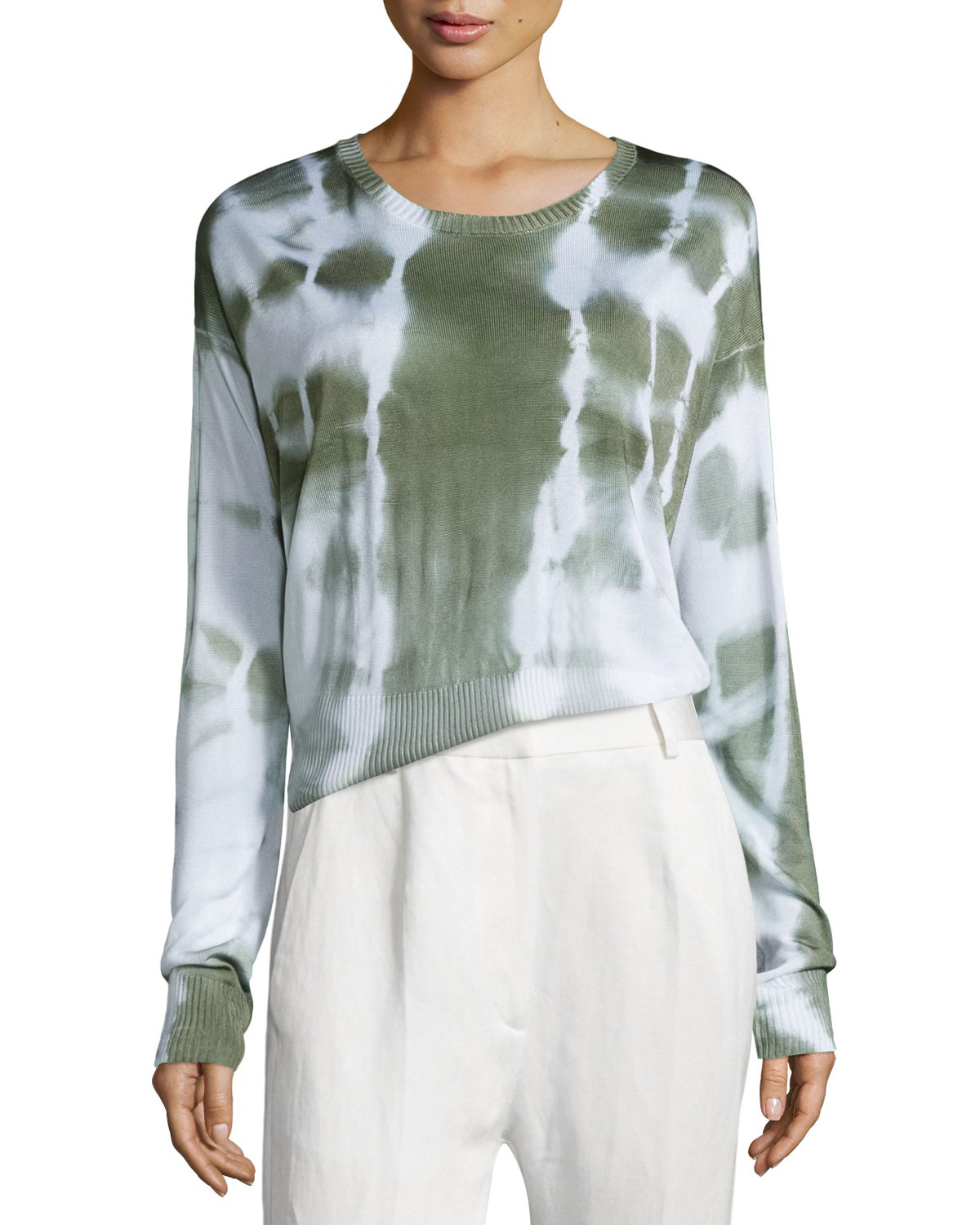 Long-Sleeve Knit Batik Top, Off White/Green