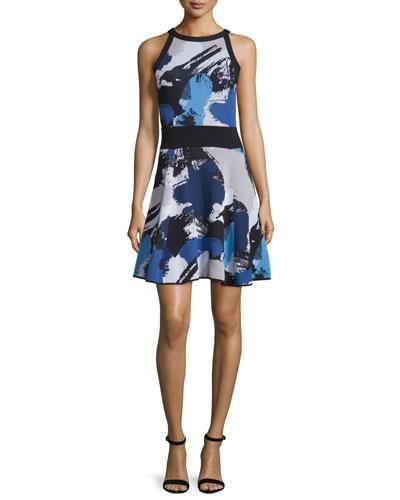 Pop Art Sleeveless Fit-&-Flare Dress, Blue/Multi