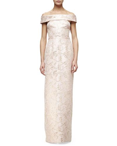 Off-The-Shoulder Column Gown, Blush