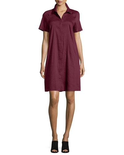Shaylin Linen-Bend A-line Shirtdress, Radicchio