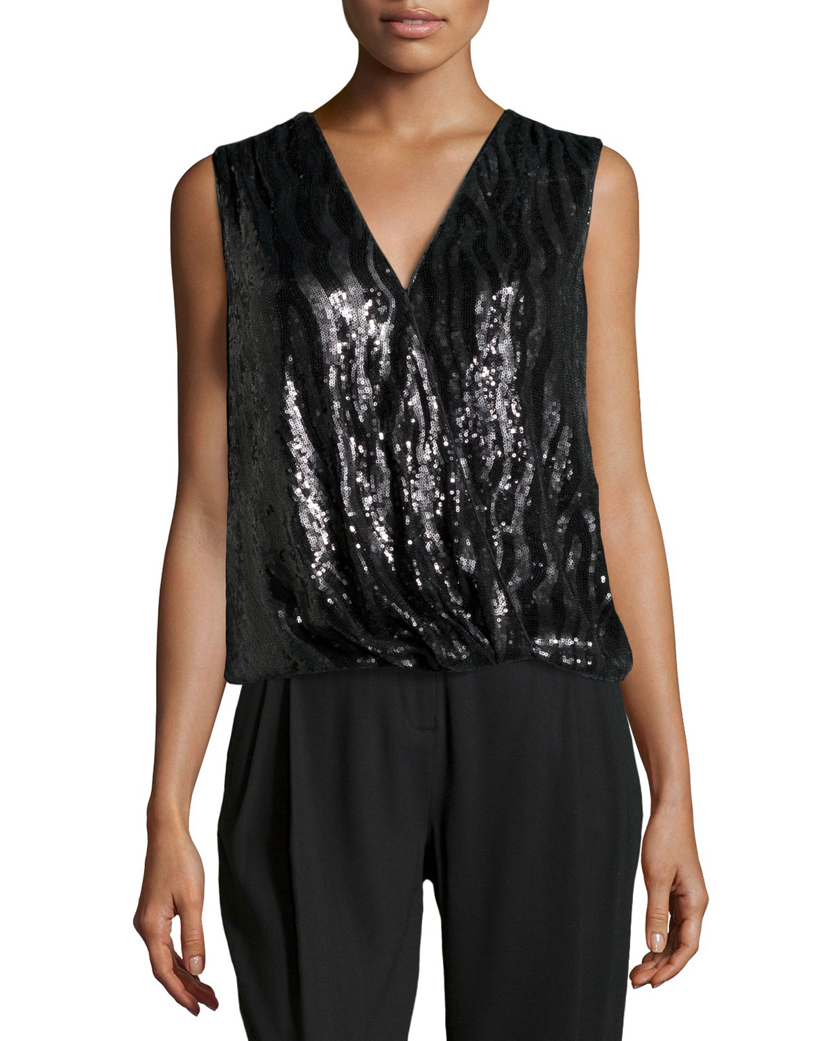 Sleeveless Wrap-Front Sequin Top, Black