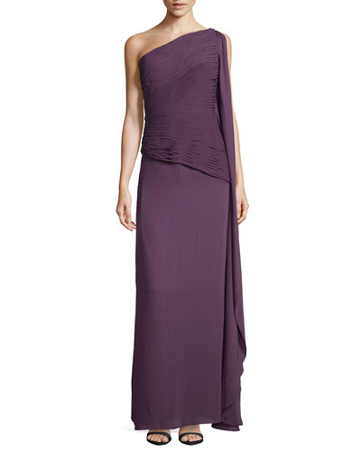 Ruched Georgette Gown, Plum