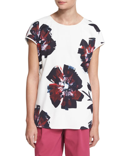 Nadette Short-Sleeve Floral-Print Top
