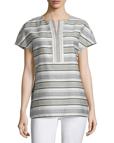 Lula Short-Sleeve Striped Blouse, Mica/Multi