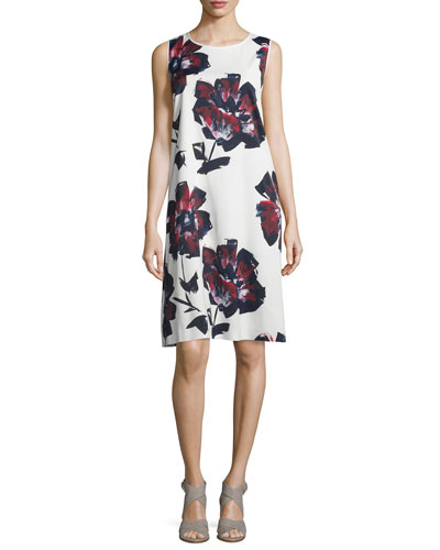 Palmer Sleeveless Brava Blooms-Print Dress, Cloud/Multi