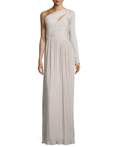 Single-Sleeve Plisse Evening Gown, Silk Rain