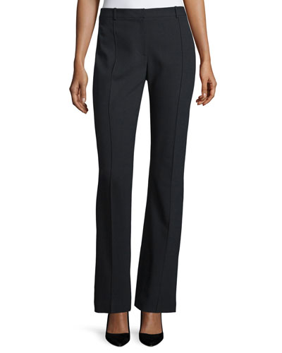 Mid-Rise Flare-Leg Trousers, Black