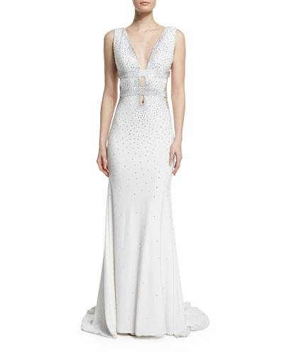 Sleeveless Open-Back Embellished Gown, Off White