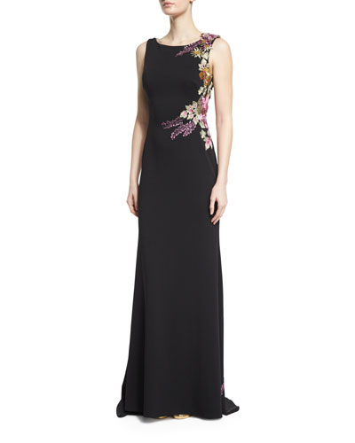 Sleeveless Floral-Appliqué Column Gown, Black/Multi