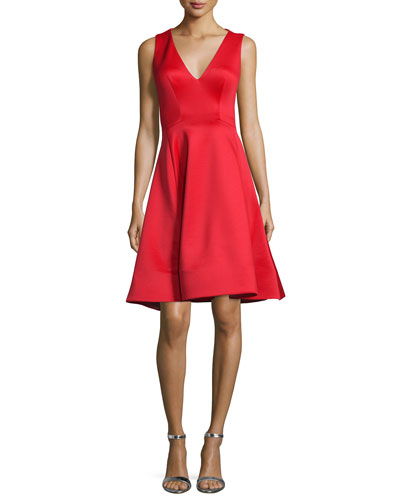 Sleeveless V-Neck Fit & Flare Midi Dress, Tomato