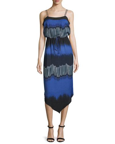 Sleeveless Drawstring-Waist Midi Dress, Wisteria