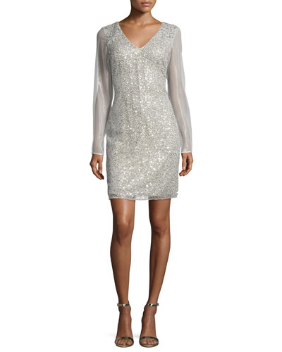 Long-Sleeve Sequined Sheath Cocktail Dress