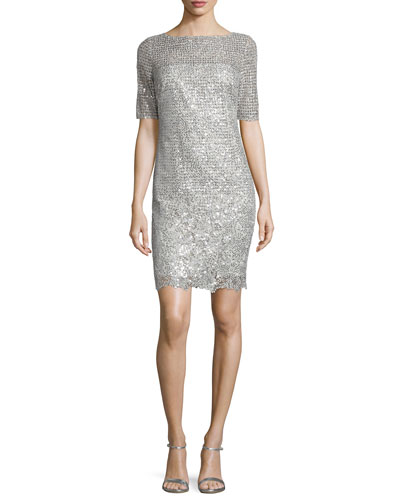 Half-Sleeve Sequined-Lace Dress, Platinum