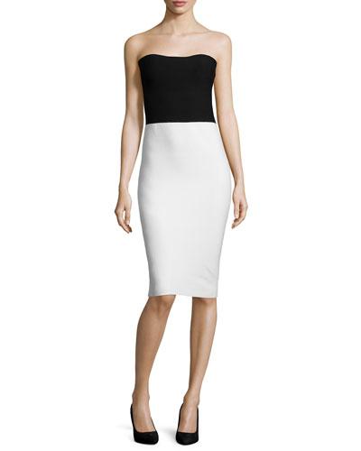 Strapless Colorblock Sweater Dress, Black/White