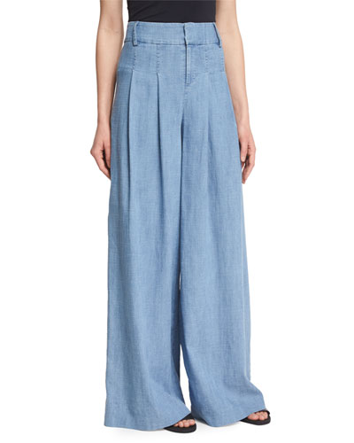 Trudie High-Waist Chambray Wide-Leg Pants, Blue
