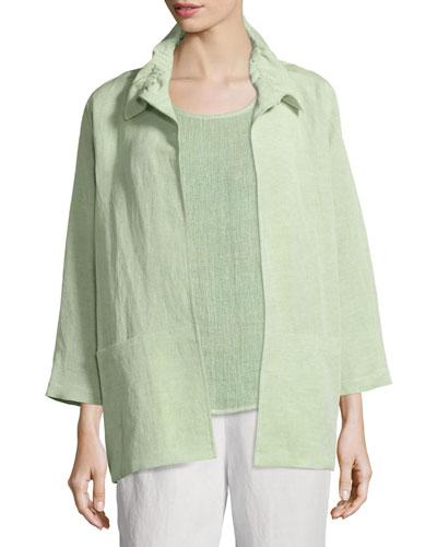 Gauze Linen-Blend Beach Jacket, Soft Lime, Plus Size