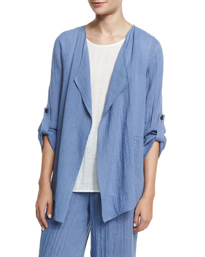 Crinkled Draped Linen Jacket, Blue Mist