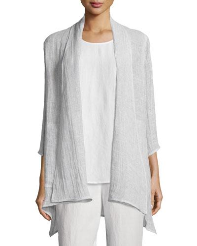 Crinkled Gauze Jacket, Cloud, Plus Size