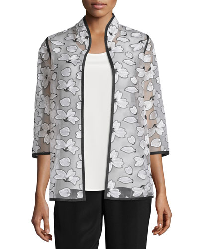 Magnolia Organza 3/4-Sleeve Jacket, Plus Size