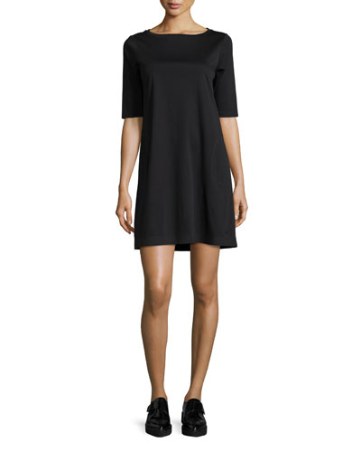 Half-Sleeve Bateau-Neck Jersey Shift Dress, Black