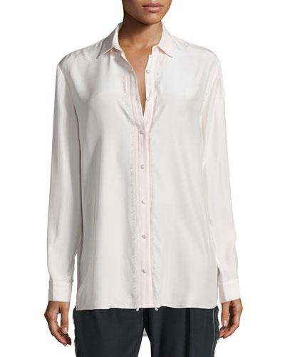 Silk Fringe-Trim Button-Front Shirt, Ballet