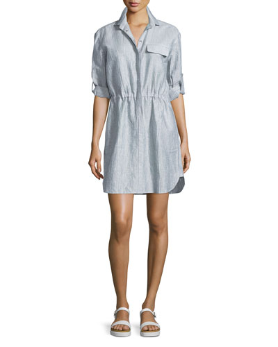 Crinkled Snap-Front Shirtdress, Indigo/White