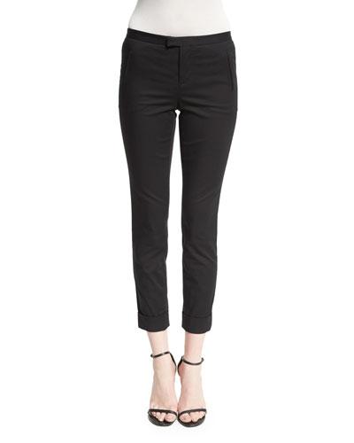 Stretch-Twill Slim-Fit Pants, Black