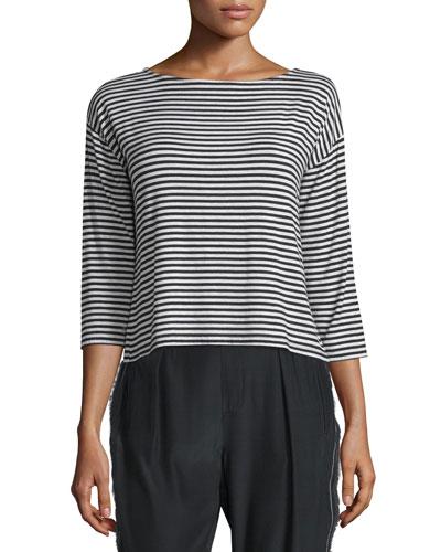 3/4-Sleeve Striped Boxy Top, Black/White