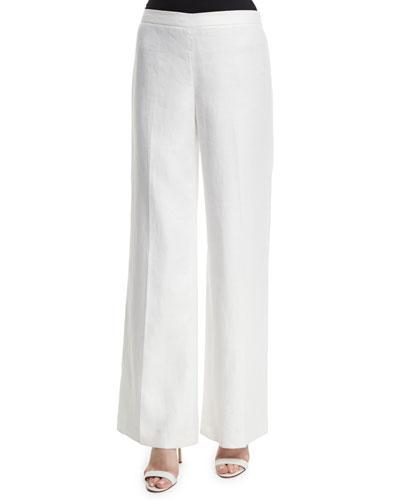 Wide-Leg Linen Side-Zip Pants, White