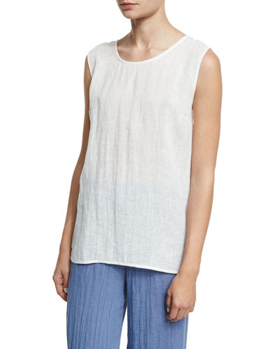 Long Crinkled Linen Tank, White, Plus Size